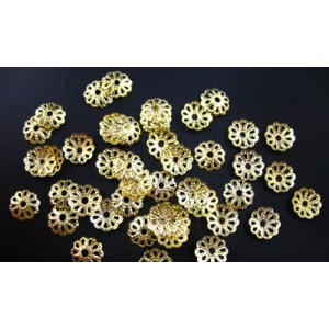 20 Capacele decorative aurii floare 6 mm