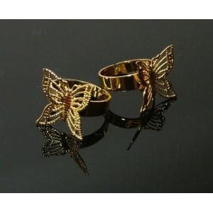 Baza inel reglabil auriu, aplicatie fluture filigran