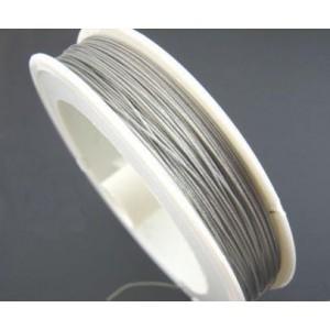 Rola sarma argintie otel acoperita cu nylon  0.38 mm