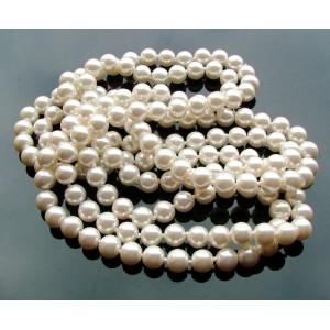 10 Perle sticla sferice albe 8 mm