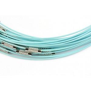 Baza colier otel acoperit cu nylon 45 cm bleu