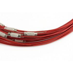 Baza colier otel acoperit cu nylon 45 cm rosu