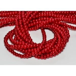 10 Perle de sticla rosii 4 mm