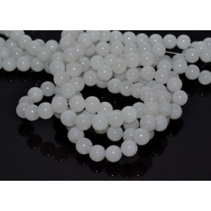 10 Margele sferice sticla alb laptos 8 mm