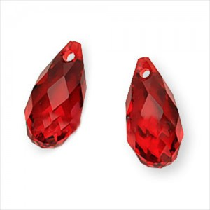 Brioleta fatetata cristal rosu 6 x 12 mm
