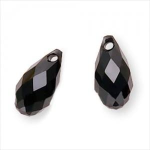 Brioleta fatetata cristal negru 6 x 12 mm