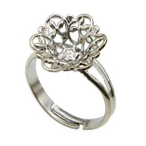 Baza inel reglabil placat cu argint floare filigran 13 mm