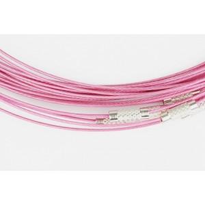 Baza colier otel acoperit cu nylon 45 cm roz