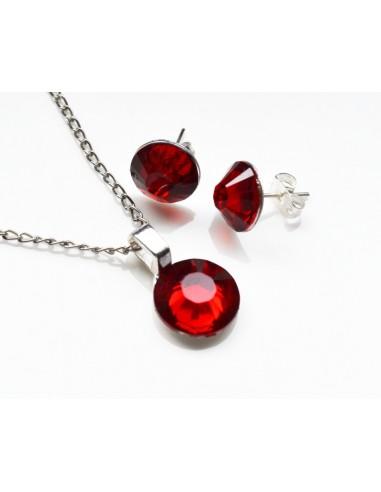Kit cristale rosii si accesorii argintii