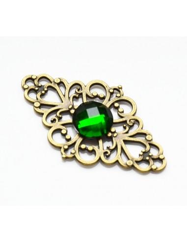 Link masiv bronz filigrant cu montura cristal fatetat verde