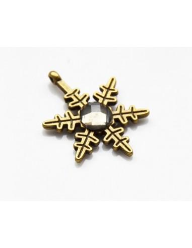 Charm pandantiv stea bronz cu montura cristal 23 mm