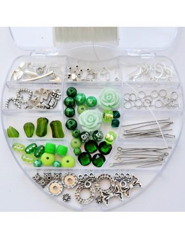 Kit margele si accesorii bijuterii cu 130 componente - rosu