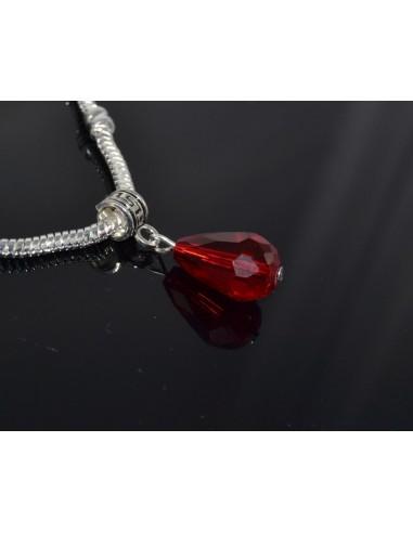Pandantiv PANDORA cristal rosu Siam 28 mm