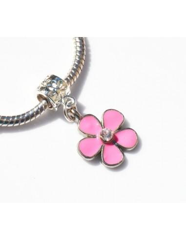 Pandantiv PANDORA email floare roz cu cristal 30 x 15 mm