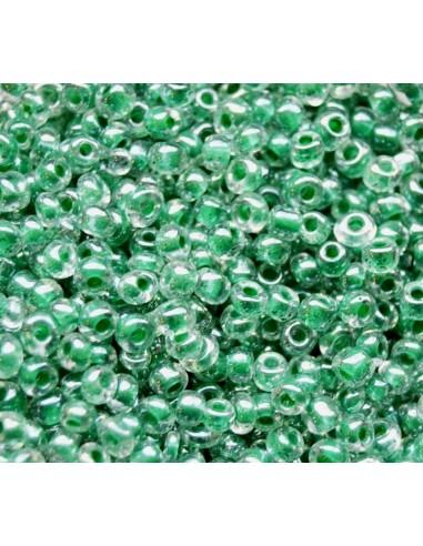 Margele de nisip smarald sidefat 3x3.5 mm (10g)