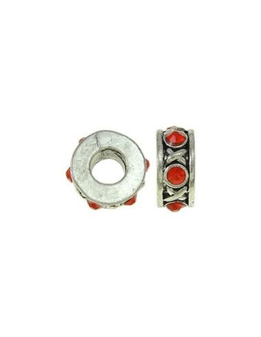 Rondele tip pandora argintii cu cristale 12 x 5 mm