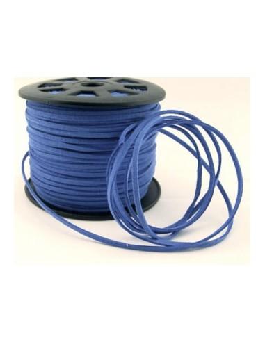"Snur ""Faux Suede"" (imitatie piele intoarsa) 3x2 mm (1m) - albastru"