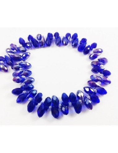 Brioleta fatetata cristal albastru cobal AB 6 x 11 mm