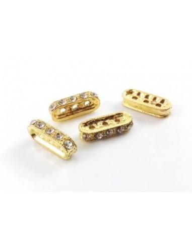 Distantier auriu cu montura cristal pentru 3 siruri 18 x 4 x 8 mm