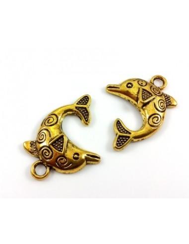 Pandantiv auriu antichizat delfin 32 x 22 x 4 mm