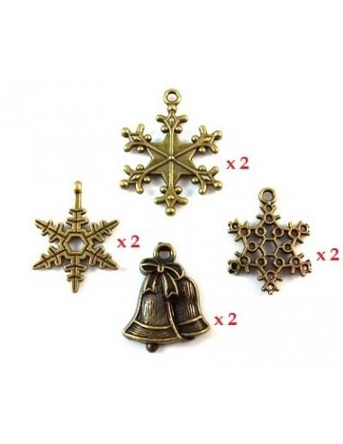 Mix 8 charmuri si pandantive iarna bronz antichizat 23 - 28 mm