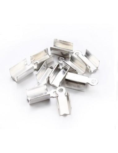 10 Capete de snur argintiu deschis cu anou 8 x 4 mm