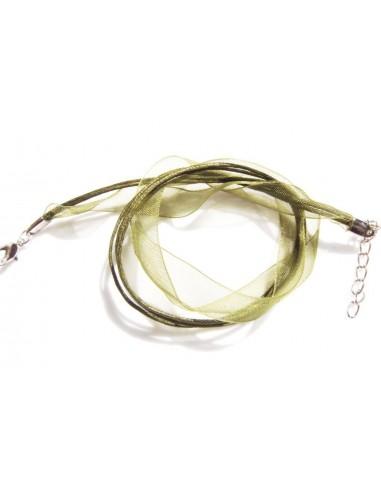 Baza colier din snur organza si bumbac cerat cu inchizatoare - verde inchis