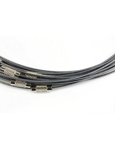 Baza colier otel acoperit cu nylon 45 cm negru