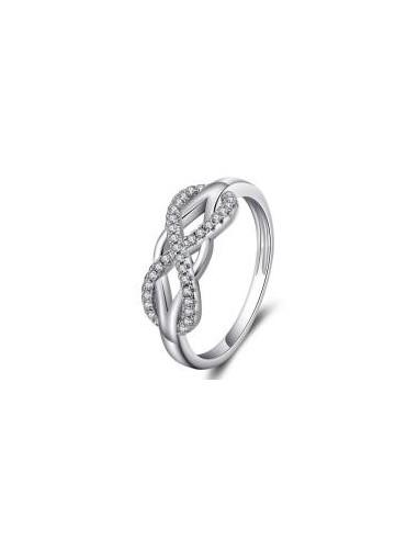 Inel argint S925 micro zirconii albe model infinit nr. 7