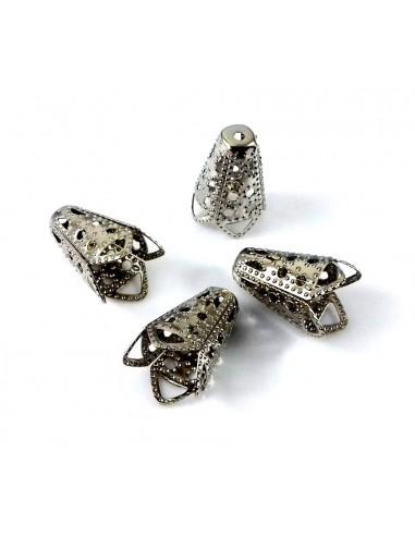 Capacele decorative argintiu inchis filigran 16 x 11 mm