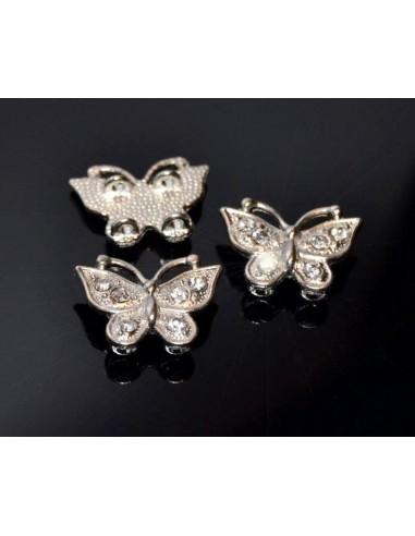 Conector fluture argintiu cu rhinestone 19 x 14 mm pentru doua siruri