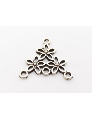 Chandelier cercei argintiu antichizat flori triunghi 24 x 23 mm
