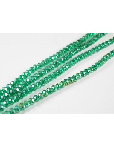Rondele cristal fatetat 4 x 6 mm smarald AB