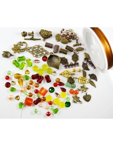 Lot pietre semipretioase si accesorii metalice cupru si bronz
