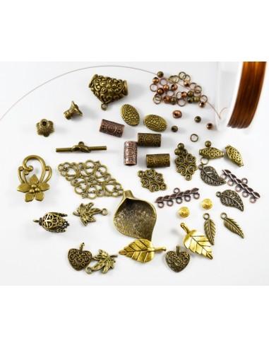 Lot mixt 100 accesorii metalice bronz si cupru 4 - 24 mm