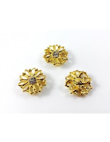 Distantier metalic auriu cu montura cristal pentru doua siruri 13 x 4 mm