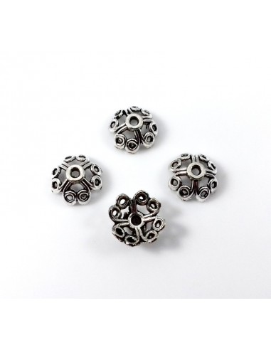 Capac metalic argintiu antichizat model floral 11 mm
