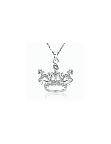 Colier argint cu pandantiv coronita montura zirconii albe