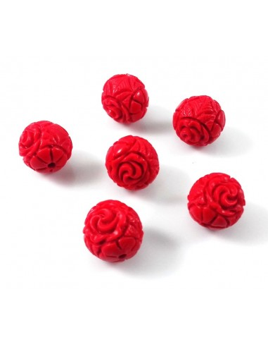 Margele cinnabar (cinabru) sferic model flori 10 mm