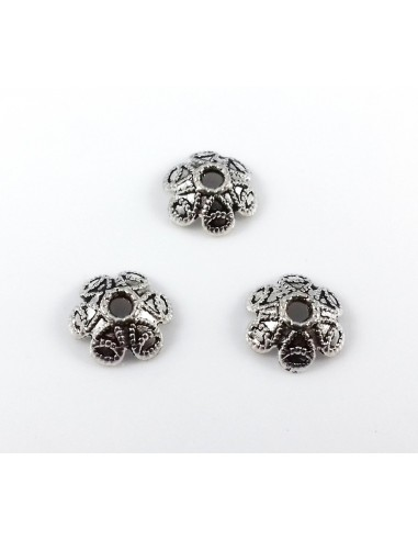 Capacele decorative argint tibetan 6 petale 9 x 4 mm
