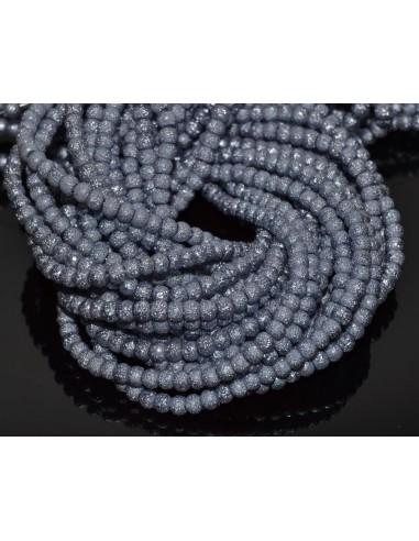 10 Perle sticla creponata stardust 4 mm - roz