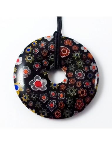 Pandantiv sticla Millefiori donut 35 mm