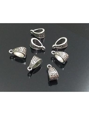 Agatatoare metalica argintiu antichizat 14 x 7 mm