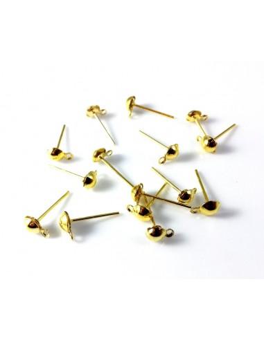 Tortite cercei aurii cu bila si anou 14 x 7 mm (2 buc)