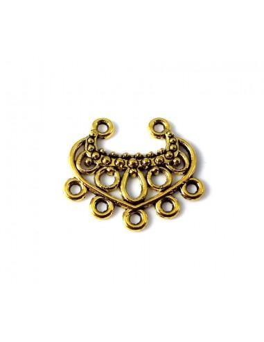 Chandelier metalic auriu antichizat cu 7 anouri 22 x 19 mm