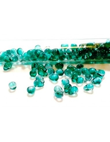 10 Margele sticla Cehia drop (picatura) 4 x 6 mm - verde albastrui