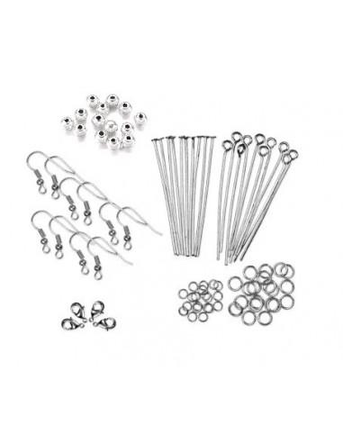 Kit accesorii argintii - tortite, zale, ace, inchizatori
