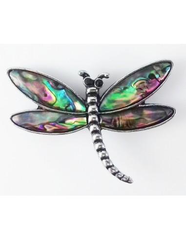 Pandantiv brosa libelula cu scoica abalone paua 60 mm