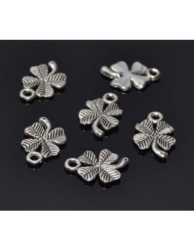 10 Charm trifoi norocos argintiu antichizat 15 x 10 mm