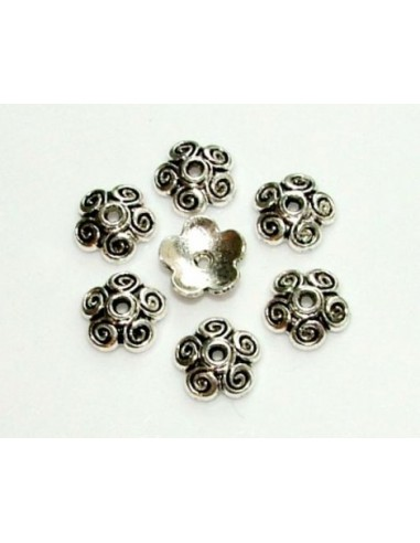 Capacele decorative 5 petale argint tibetan 10 x 2.5 mm